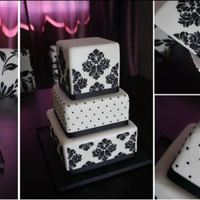"Black And White Wedding  6"", 8"" and 10"" Squares. Fondant Covered. Diamond embossed pattern, accented with Black Pearls. Royal Icing Damask Stencil...."