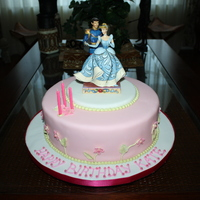 "Cinderella Birthday Cake 10"" Round. Wedding White Cake with Madagascar Vanilla Swiss Meringue Buttercream. Fondant and Royal Icing Accents, Disney's..."
