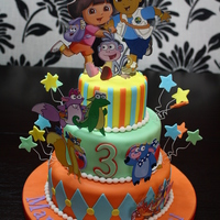 "Twins Dora, Diego & Friends Birthday  4"", 6"" and 8"" Rounds. Chocolate Fudge Cake with Belgian Chocolate Buttercream and Lemon Cake with Mango Buttercream. Most..."
