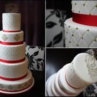 "French Baroque Wedding  6"", 8"", 10"", 12"" and 16"" Rounds. Fondant Covered. Diamond embossed pattern, accented with Gold Dragees. Royal..."