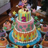"Dora And Boots Birthday 3-Tier Dora and Boots Birthday - 4"", 6"" and 8"" rounds. French Vanilla Sponge cake with Vanilla Swiss Meringue Buttercream. I..."