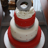"Valentines Day Engagement 6"", 9"", and 12"" rounds. Lemon Sponge Cake with Passionfruit Swiss Meringue Buttercream. Fondant Satin Tissue with silver..."