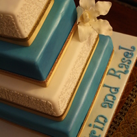 "Teal Engagement 4"", 6"", 8"", and 10"" squares. 4-layer Wedding white cake (alternating layers tinted blue) with Mango-Passionfruit Swiss..."