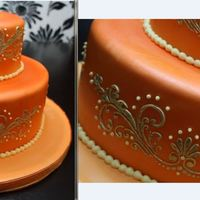 "Indian Bridal Shower 6"" and 10"" Rounds. Vanilla Bean cake with Belgian Chocolate Buttercream. Fondant covered. Royal Icing Mehndi design."