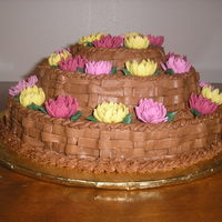 Autumn Colors I have a pan that makes a three tier cake, 10-8-6 inch tiers, 3 inch tall finished cake.