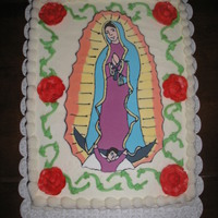 Our Lady Of Guadalupe The image of Our Lady is a royal icing plaque.