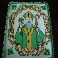 St Patrick This is a white cake with a BCT. The image was a combination of drawings from my wife and me. This was made for our celebration at church...