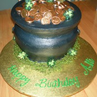 """pot Of Gold""  Pot of Gold is 4 layers stacked then hand carved to shape as pot. Iced in Buttercream. Gold coins are chocolate candy coins. St Patricks..."