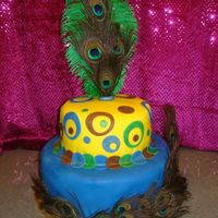 Peacock Cake This is a cake I did for a friend. She wanted a peacock theme cake for her husband's 40th b-day.