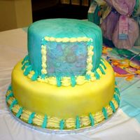 Baby Shower 2 This was for another friend's baby shower. I used Satin ice white fondant and scattered Turquoise coloring so that I could knead it by...