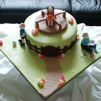 "Playground Cake This is an 8"" HD Sponge with lemon butter icing filling, fondant covered with fondant figures. I made this cake as a donation to The..."