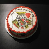 King Of Heart   Cake with buttercream icing. Piped details with icing flooded in.