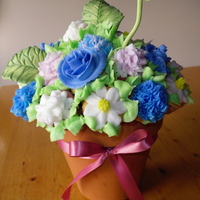 "Cupcake Bouquet In this 6"" flower pot, I used 23-26 mini's in my first bouquet. The colors are actually a blueish purple, pink and white flowers..."