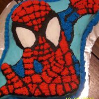 Spiderman This was done with stars and I don't know how to say it but using a spatula. It took about 4 hours.