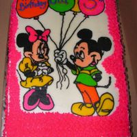 Mickey & Minnie Icing Transfer on a 9 x 13.