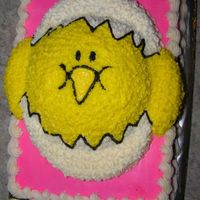 Hatching! The chick is a 1/2 ball pan..on a 9 x 13 inch slab.All buttercream.