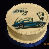 Classic Car With Dreamin' Girl Chocolate cake with buttercream with edible image