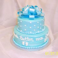...button Nose... Marble cake with buttercream & gumpaste bow