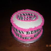 Zebra Pattern Classic white cake with buttercream and edible zebra pattern