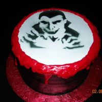 Vampire Yellow cake with chocolate buttercreamThis cake was done for a friend's son who is mentally challenge but is very into vampires.