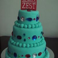 Zen Zest Bejewelled Cake A cake made for a local bath and body product company, Zen Zest. It was for their endorser's birthday. Take note, the logo is ALSO...