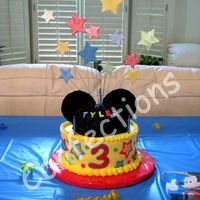 Mickey Mouse Cake A Mickey Mouse cake for my son's third birthday (the family party). The bottom is an 8-inch chocolate cake with fudge filling and IMBC...