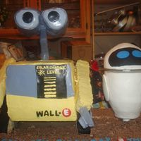 Wall-E And Eve  My son's 5th Bday cake. He's been planning his Wall-E party since his last birthday. Wall-E is chocolate with peanut butter...