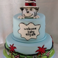 Cat In The Hat Baby Shower This cake was for a baby who will have a Cat in the Hat nursery! I meshed quite a few cakes that I saw on Flickr to get the final design of...