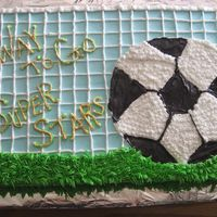 Superstars Soccer Cake Made from designs seen here on CC. Thanks! For my neighbor's daughters soccer team!