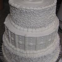 S Wedding Cake White cake, white buttercream.