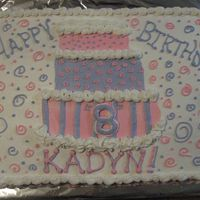 Kadyn's 8Th made for a friends daughter, pink and purple swirls, all buttercream icing