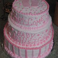 Welcome Baby Ashleigh Made for a friend at work. Chocolate and strawberry 3- tier cake , all buttercream icing.
