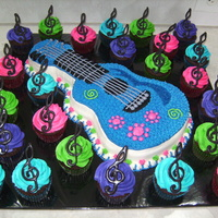 Jonas Brothers Cake I made this cake for my daughters 9th birthday. All BC. Chocolate treble clefs.