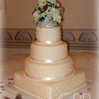 Priscilla Cake covered in fondant with sugar pearls and silk ribbon. TFL!