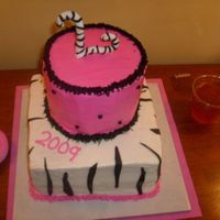 Graduation Cake Graduating girl wanted zebra stripe and hot pink so this is what I came up with. I made the L out of fondant. The stripes were fondant as...