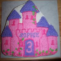 Castle Cake  This was a castle cake out of the Wilton pan. I forget how long those stars take when I don't do them often!! Birthday girl loved it...
