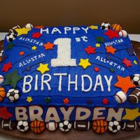 Sports Bday Cake I made this cake for my grandson's 1st birthday.
