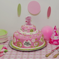 Pink Polka Dot Party Cake Strawberry (Jello) cake, frosted with strawberry(Jello) flavored crusting buttercream. BC borders, MM fondant decorations. Pearl dust on...