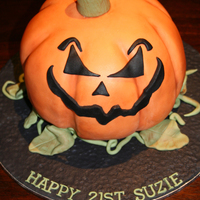 Evil Jack O Lantern Cake An evil Jack O Lantern cake for a Halloween 21st Birthday Party. It was my second 3D cake so it was a challenge but I enjoyed it! Thanks...