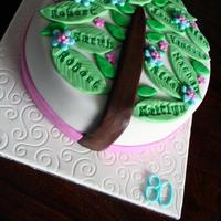 Family Tree 80Th Birthday Cake A family tree cake with a leaf for each member of the family! Chocolate mudcake covered in chocolate ganache and a layer of fondant. The...