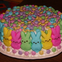 Easter Cake  Made this cake from a CC recipe - Orange creamsicle. Side of cake is peeps and top is M&Ms. Had to hide chocolate candies under the...