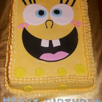 Sponge Bob Birthday Cake  Made this for my grandson's 3rd birthday - he LOVES Sponge Bob. White cake, BC icing with fondant accents. Thank you CCers for all...