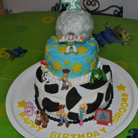 Toy Story Birthday Cake  For my granddaughter's 4th birthday (marble cake) (day after the bday party we went to Disney and saw Buzz & Woody - she was so...
