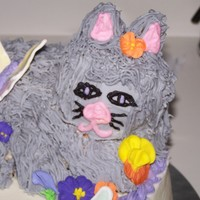 Kitty Cat Birthday Cake This is for my neighbor who is turning 6. She wanted a cake with a momma cat laying down, a baby cat playing with yarn, flowers and...