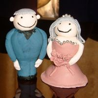 Old Couple Cake Toppers These are my first real attempt at cake toppers. The Grandmother is going to be wearing a dusty pink dress and the Grandfather is going to...