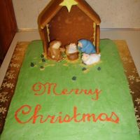 Nativity Scene fondant people, buttercream iced, gingerbread house