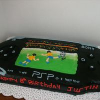 Psp Player Made this 2ft size PSP Player, with a 2D soccer game on the screen. just shaped 2 1/4 sheet cakes to get the length just right, and frosted...