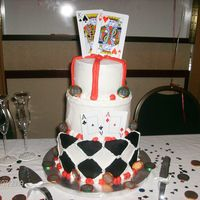 Texas Hold'em Wedding Cake 3 tiers, bride and groom are very into the Texas Hold'em, so they gave me this design. All BC.