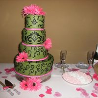 Keisha's Cake This is for my good friend, her colors were sage green, black and hot pink. Cake was stenciled with scrolling all over, Flavor was...