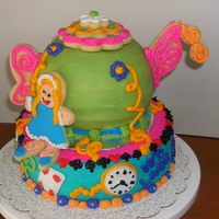 Alice In Wonderland Teapot Made a small cake and used the sports ball pan and made the teapot - used cookies for all the accents, since my customer doesn't like...